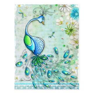 Carte postale colorée de paon