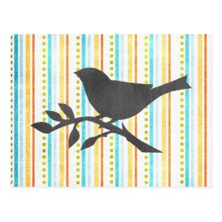 Carte postale colorée d'oiseau de rayures
