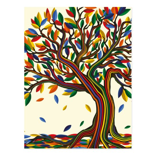 Carte Postale Colorful rainbow tree with bright colors