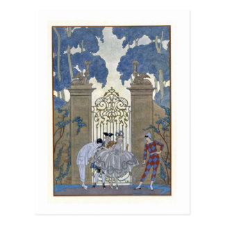 """Carte Postale Columbine, illustration pour des """"fêtes Galantes"""""""