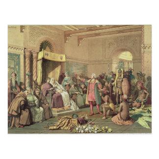 Carte Postale Columbus à la cour royale de l'Espagne à Barcelone