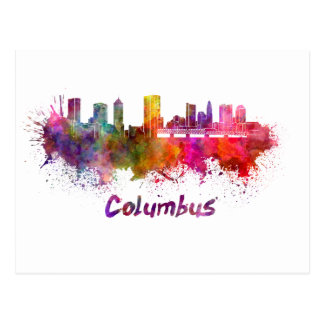 Carte Postale Columbus skyline in watercolor