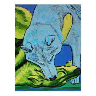 Carte Postale Combat de loups