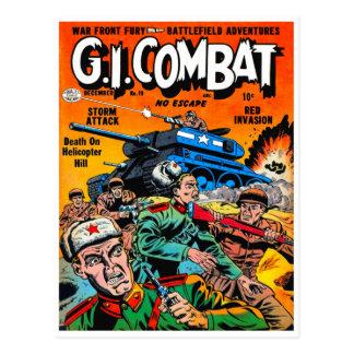 Carte Postale Combat de réservoir d'armée d'imaginaire
