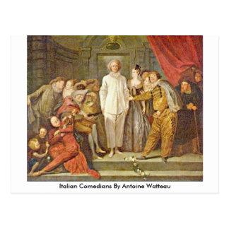 Carte Postale Comédiens italiens par Antoine Watteau