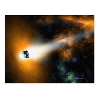 Carte Postale Comète descendant par l'atmosphère
