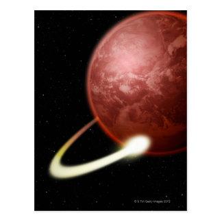 Carte Postale Comète satellisant une planète rouge