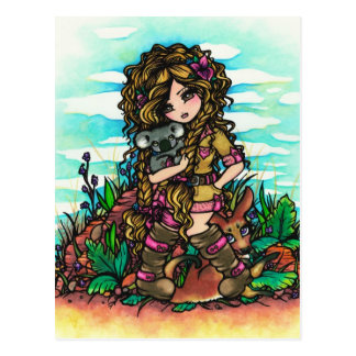 Carte postale comique d'art de fille de kangourou