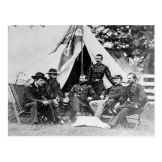 Carte Postale Commandant. Gen. Philip Sheridan et ses généraux