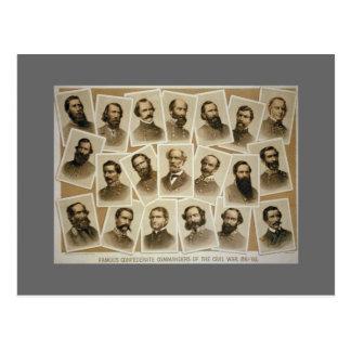 Carte Postale Commandants confédérés 1861-1865