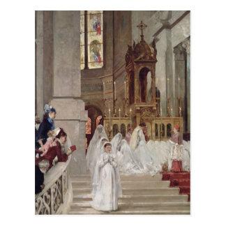 Carte Postale Communion à l'église de la trinité, 1877