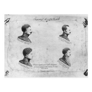 Carte Postale Complot de La Rochelle, portraits des quatre