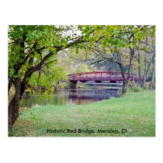Carte postale comportant le pont rouge à Meriden