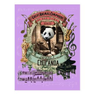 Carte Postale Compositeur animal Chopin de panda drôle de