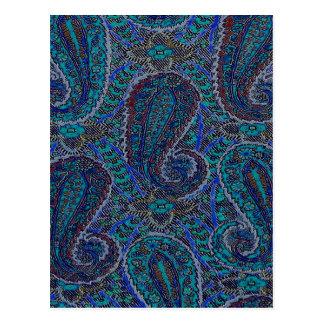 Carte Postale Concepteur bleu de Paisley Boho