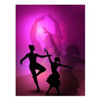Carte Postale Conception artistique rose de danseurs classiques