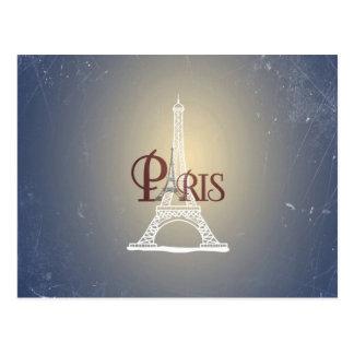 Carte Postale Conception bleue vintage élégante de Paris de Tour
