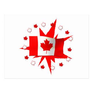 Carte Postale Conception canadienne de drapeau