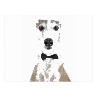 Carte Postale conception coupée par whippet dans la cravate