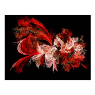 Carte Postale Conception d'abrégé sur rouge et blanc sur le noir
