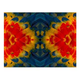 Carte Postale Conception d'ara d'écarlate de kaléidoscope