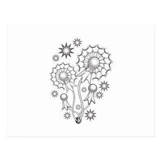 Carte Postale Conception de tatouage de pissenlit