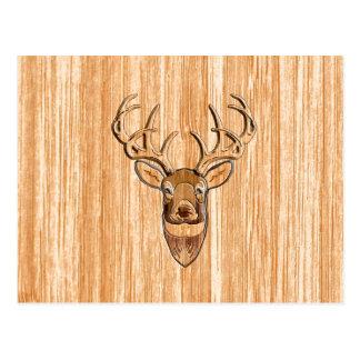 Carte Postale Conception en bois de grain de tête de cerfs