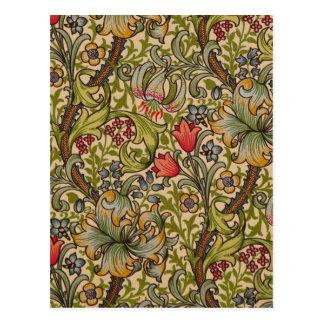 Carte Postale Conception florale d'or vintage de Lilly