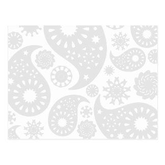 Carte Postale Conception grise et blanche en pastel de motif de