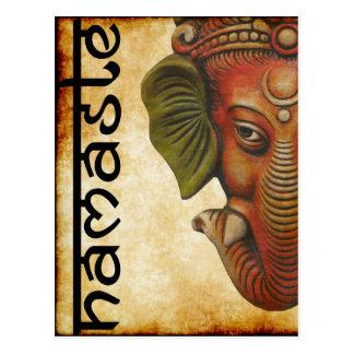 Carte Postale Conception indienne de namaste de ganesha de Dieu