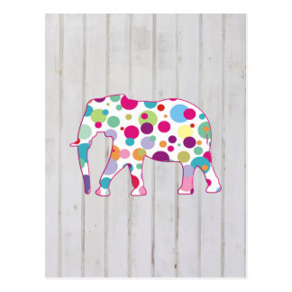 Carte Postale Conception lunatique d'éléphant de pois