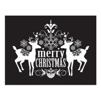 Carte Postale Conception noire et blanche de Noël