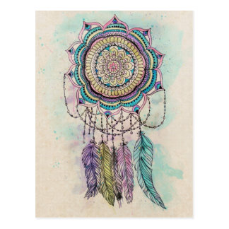 Carte Postale conception tribale de mandala de dreamcatcher de