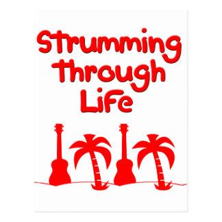 Carte Postale Conception tropicale de surf d'Uke d'ukulélé rouge