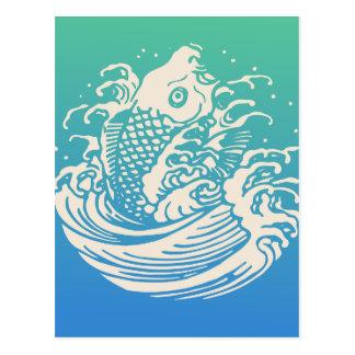 Carte Postale Conception vintage bleue d'art de poissons