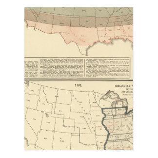 Carte Postale Concessions originales de 1776 secteurs arrangés