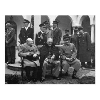 Carte Postale Conférence Roosevelt Stalin Churchill 1945 de