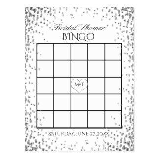 Carte Postale Confettis argentés nuptiales du bingo-test | de
