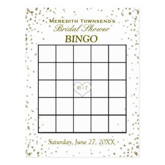 Carte Postale Confettis nuptiales d'or du bingo-test | de douche
