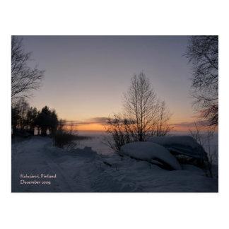 Carte postale congelée de lac