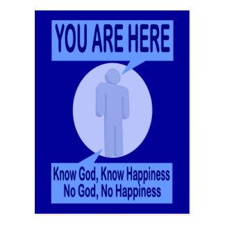 Carte Postale Connaissez Dieu, sachez le bonheur. Aucun Dieu,