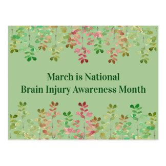 Carte Postale Conscience de lésion cérébrale de vert de Nil