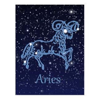 Carte Postale Constellation de Bélier et signe de zodiaque avec