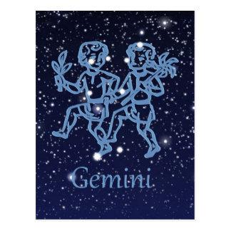 Carte Postale Constellation de Gémeaux et signe de zodiaque avec