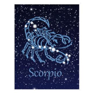 Carte Postale Constellation de Scorpion et signe de zodiaque