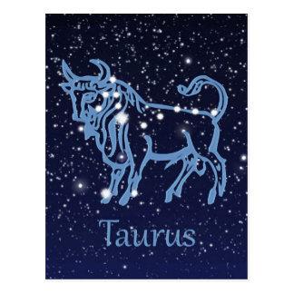 Carte Postale Constellation de Taureau et signe de zodiaque avec
