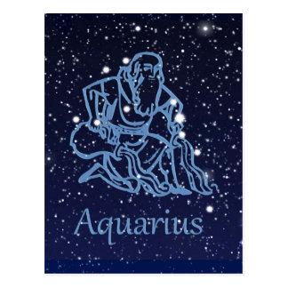 Carte Postale Constellation de Verseau et signe de zodiaque avec