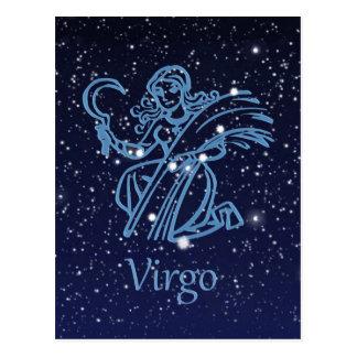 Carte Postale Constellation de Vierge et signe de zodiaque avec