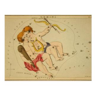 Carte Postale Constellation vintage de Gémeaux
