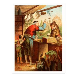 Carte Postale Conte de fées de loup et de sept chèvres de jeune